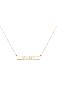 "SA4-2-4-INB468MAGD - ""MAMA"" CUT OUT BAR NECKLACE - GOLD/6PCS"