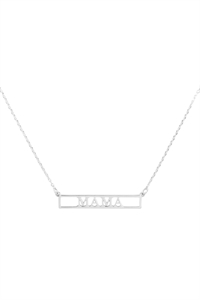 "SA4-2-2-INB468MARH - ""MAMA"" CUT OUT BAR NECKLACE - SILVER/6PCS"