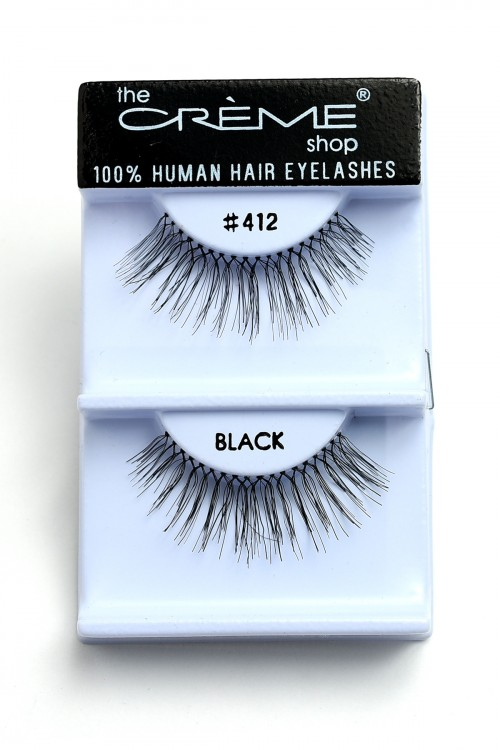 237-J-CE#412 THE CREME SHOP BLACK 100% HUMAN HAIR EYELASHES/12PCS