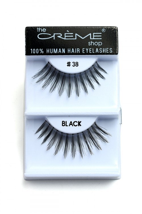 211-2-3-CE#38BK THE CREME SHOP BLACK 100% HUMAN HAIR EYELASHES/12PCS