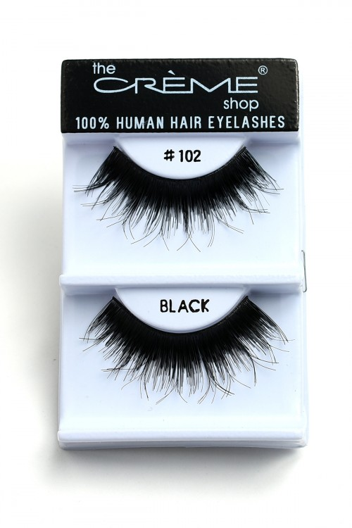 237-J-CE#102BK THE CREME SHOP BLACK 100% HUMAN HAIR EYELASHES/12PCS