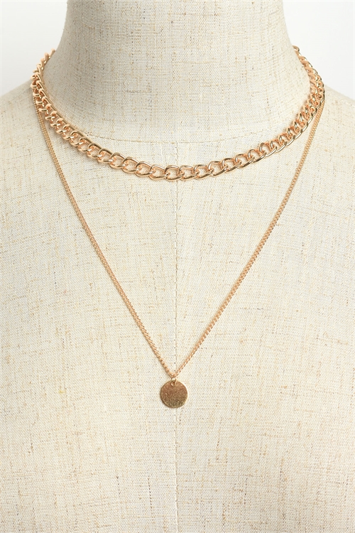201-2-4-LKN67542 COIN SHAPE DOUBLE CHAIN NECKLACES/12PCS