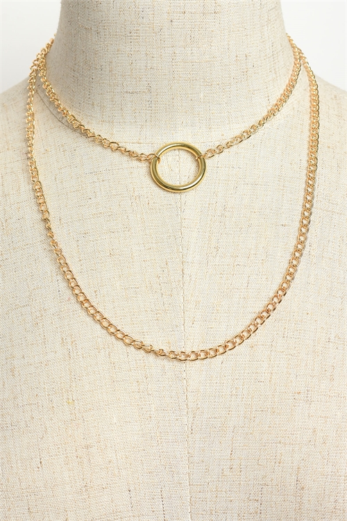 A1-1-3-LKN67557 DOUBLE CHAIN RING NECKLACES/12PCS