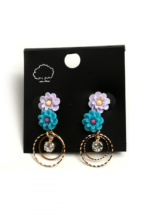 A2-2-4-LKE67135 FLORAL HOOP EARRINGS/12PCS