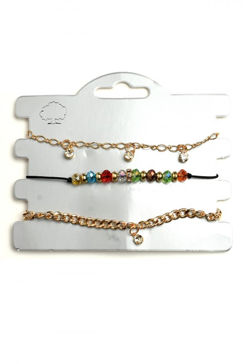 A3-1-2-LKB66921 ASSORTED MULTI STONE CHAIN BRACELETS/12PCS