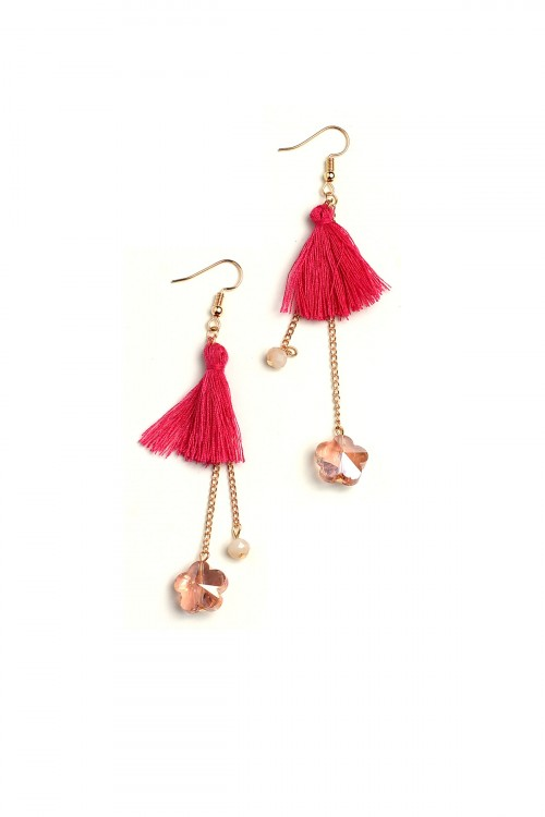 A2-2-4-LKE68438 TASSEL STONE DROP EARRINGS/12PCS