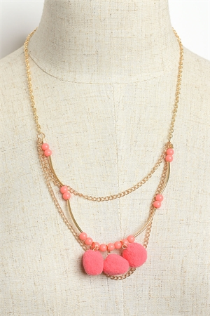 A2-2-5-JAN26394 TRIPLE CHAIN FUZZBALL DROP NECKLACES/12PCS