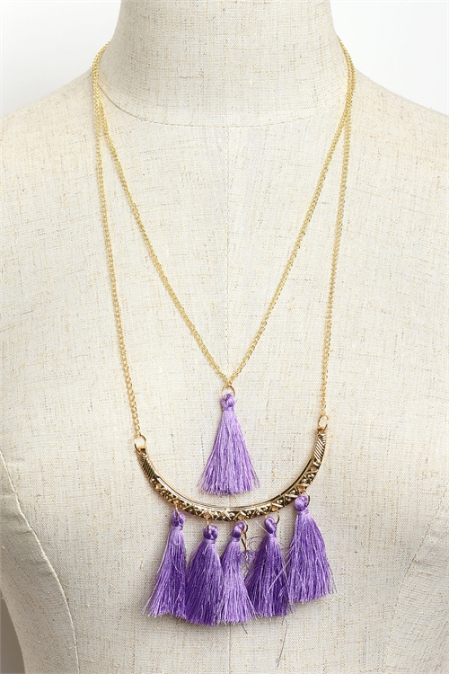 A3-3-1-NE5075 MULTI TASSEL CHAIN DROP NECKLACES/12PCS