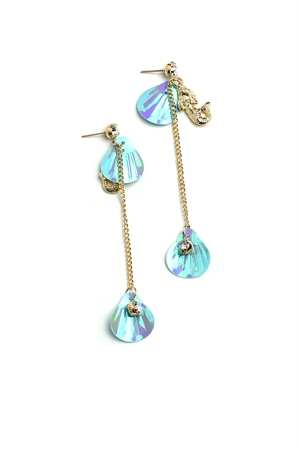 A2-1-4-ER5153 SHELL SHAPE CHAIN DROP EARRINGS/12PCS