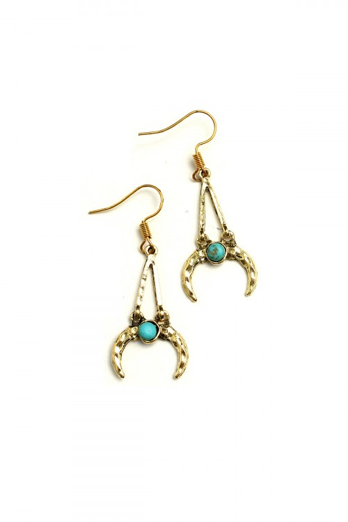 A1-2-5-LKE68315 HORN SHAPE GEM DROP EARRINGS/12PCS