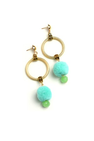 A2-1-4-ER2220 FUZZBALL HOOP DROP EARRINGS/12PCS