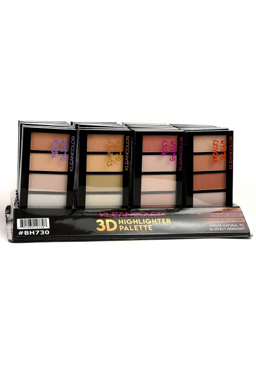 S1-3-3-BH730 KLEANCOLOR 3D HIGHLIGHTER PALETTE/24PCS
