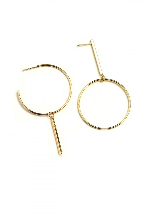 A1-1-1-ER5182 HOOP DROP EARRINGS/12PCS