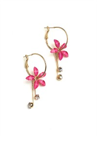 205-1-5-RER0631R6 FLORAL SHAPE STONE DROP EARRINGS/12PCS