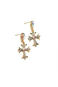 204-3-1-RER0275GS CROSS SHAPE STONE DESIGN EARRINGS/12PCS