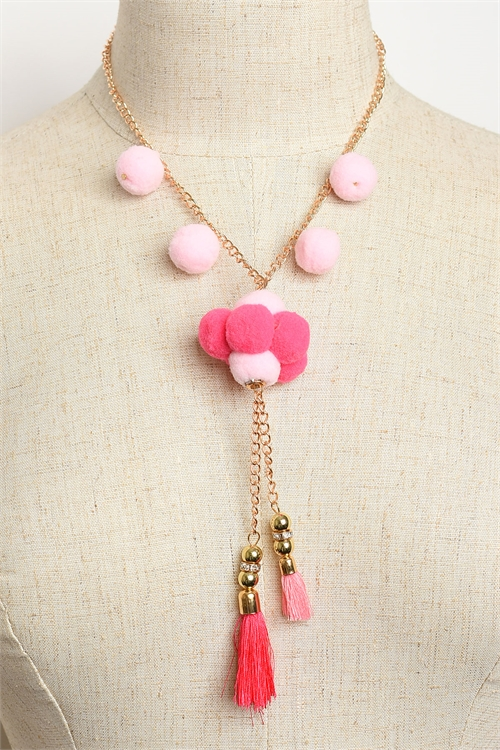 A1-2-1-RNK0022R MULTI FUZZBALL TASSEL DROP NECKLACES/12PCS
