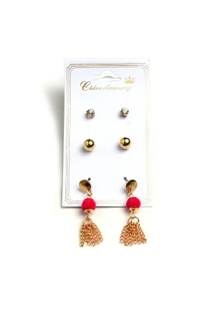 A2-2-1-RER0088R6 PEARL STONE & TASSEL EARRINGS/12PCS