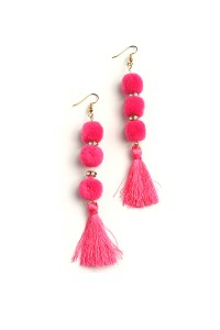 201-2-5-RER0255R6 TRIPLE FUZZBALL TASSEL DROP EARRINGS/12PCS