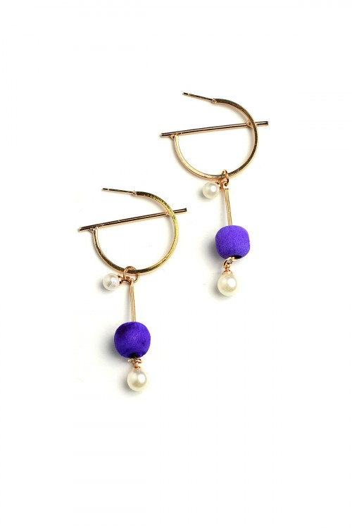 A2-1-3-BER0737R6 PEARL DESIGN DROP EARRINGS/12PCS