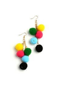 205-4-4-JER0547GSR5 MULTI FUZZBALL CHAIN DROP EARRINGS/12PCS