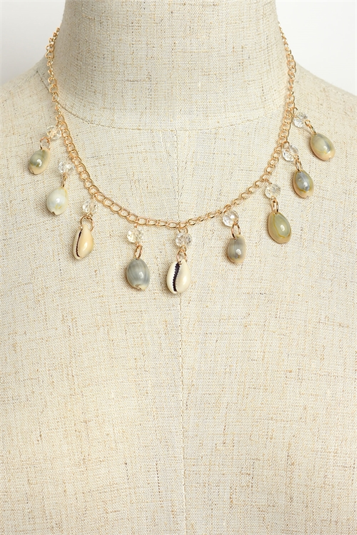 A2-3-1-MS42444 PEARL & SHELL CHAIN NECKLACES/12PCS