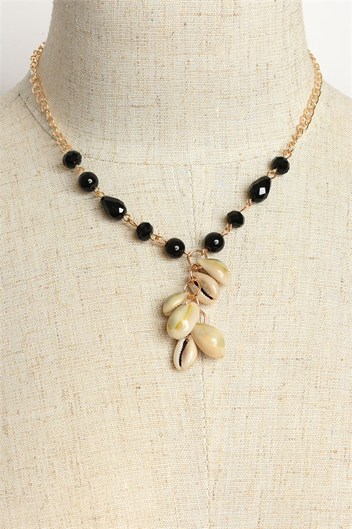 A2-3-2-MS42443 STONE & SHELL CHAIN NECKLACES/12PCS