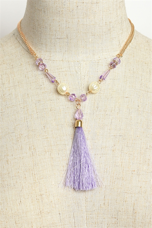 A2-3-5-MS42448 PEARL & TASSEL CHAIN NECKLACES/12PCS