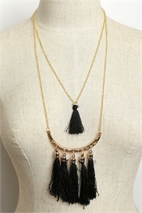 204-4-5-MS42463 MULTI TASSEL DESIGN CHAIN DROP NECKLACES/12PCS