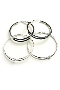 207-1-4-IER2504S SILVER DOUBLE SIZE HOOP EARRINGS/12PCS
