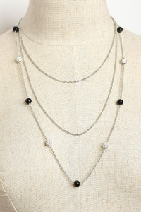 207-1-4-INE1049 TRIPLE CHAIN PEARL STONE NECKLACES/12PCS