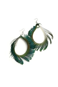 207-1-4-IER2338 PEACOCK SHAPE HOOP EARRINGS/12PCS
