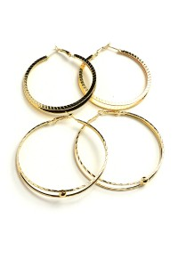206-1-5-IER2504G GOLD DOUBLE SIZE HOOP EARRINGS/12PCS