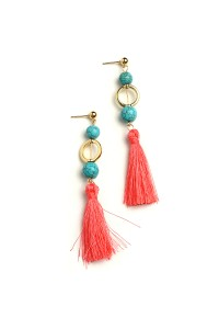 204-1-3-CE6506 TASSEL GEM DROP EARRINGS/12PCS