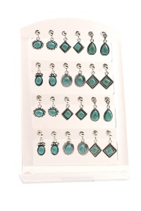 205-1-4-CE6588 MULTI SHAPE GEM EARRINGS/12PCS