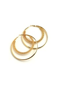206-1-3-AE2676 DOUBLE LAYER HOOP EARRINGS/12PCS