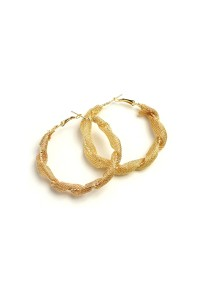 206-2-5-AE2324 CHAIN COIL HOOP EARRINGS/12PCS