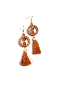204-1-3-AE3007A HOOP TASSEL DROP EARRINGS/12PCS