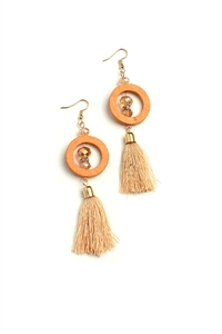 204-1-3-AE3007BR HOOP TASSEL DROP EARRINGS/12PCS