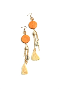 205-1-2-AE3010 SHELL TASSEL DROP EARRINGS/12PCS