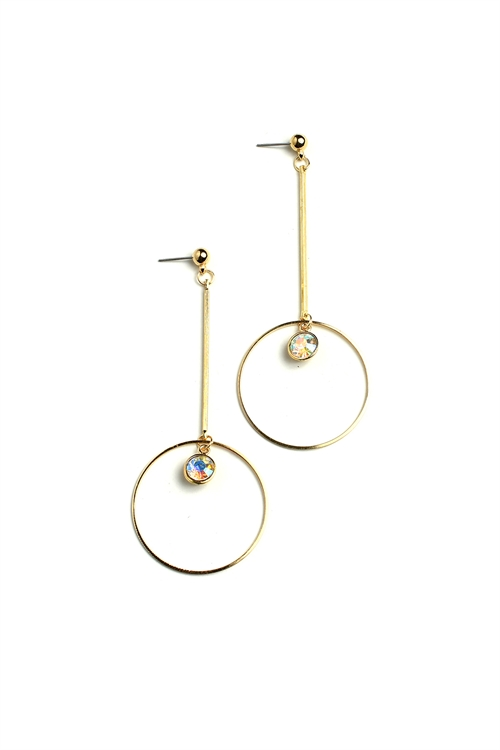 205-2-5-ER5875 STONE HOOP DROP EARRINGS/12PCS