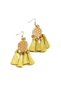 205-3-3-ER5194 MULTI TASSEL DROP DESIGN EARRINGS/12PCS
