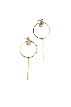 A3-1-3-ER5874 STONE HOOP DROP EARRINGS/12PCS