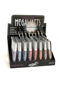 197-4-4-ES122 KLEANCOLOR MEGAWATTS LIQUID EYESHADOWS/48PCS