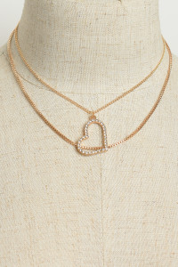 221-1-5-LKN68531 HEART SHAPE DOUBLE LAYER CHAIN NECKLACES/12PCS