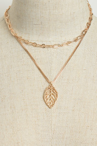 205-3-3-LKN68532 LEAF SHAPE DOUBLE CHAIN LAYER NECKLACES/12PCS