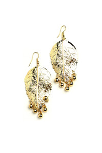 204-4-5-JAE28848 LEAF SHAPE PEARL EARRINGS/12PCS