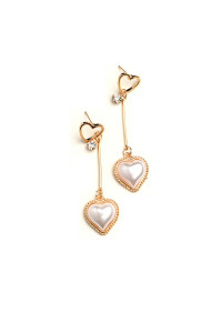 205-3-3-JAE28715 DOUBLE HEART SHAPE PEARL & STONE EARRINGS/12PCS