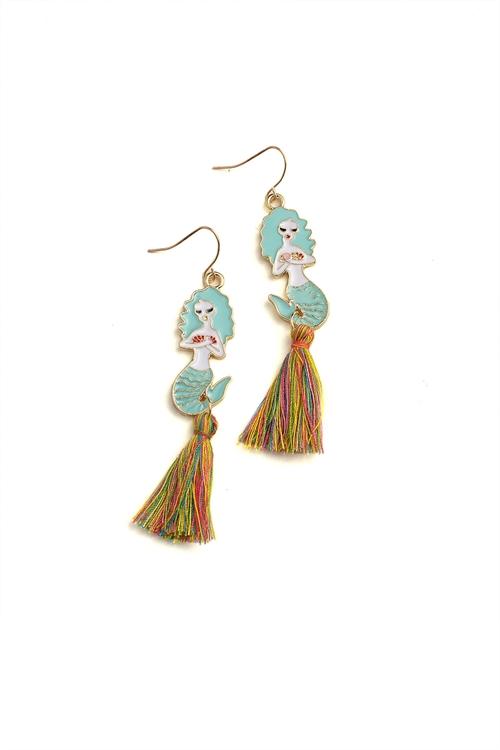 A3-1-1-ER5986 MERMAID SHAPE TASSEL DROP EARRINGS/12PCS