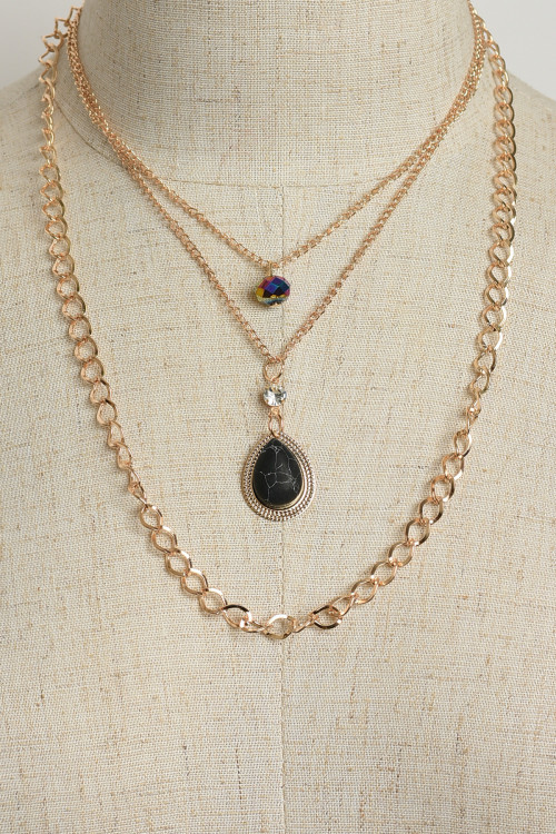 A3-1-2-NE5893 TRIPLE CHAIN GEM DESIGN NECKLACES/12PCS