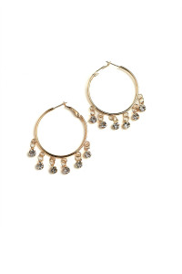 205-1-3-ER5911 MULTI STONE HOOP EARRINGS/12PCS